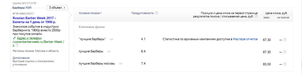 Пример объявления Яндекс Директ.